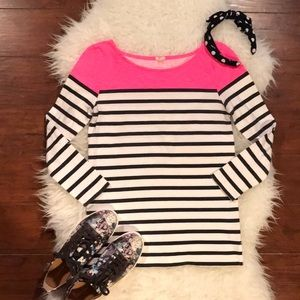J. Crew Pink Colorblocked Stripe Boat Neck Top